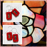 "Cercei Dansatori ""Red Stained Glass"""